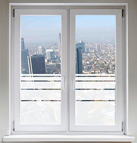 INDIGOS UG Sichtschutzfolie Fensterfolie Glasdekorfolie Dynamische Streifen satiniert Blickdicht ORACAL® - 1200mm Breite x 500mm Höhe - auch mit Individueller Breite - Satiniert Mit Streifen