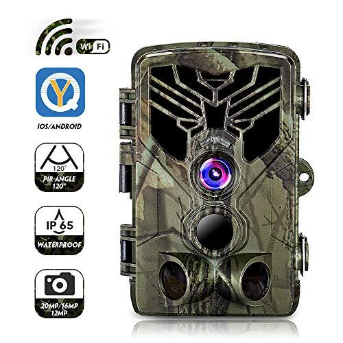 Jagdkamera WiFi, APP Wildkamera Fotofalle 20MP 1080P mit Bewegungsmelder Nachtsicht, Infrarote Nachtsicht 65ft/20m, IP65 Wasserdicht Überwachungskamera, 2,0-Zoll-Bildschirm