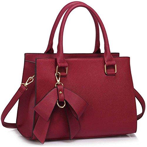 LeahWard® Damen Tragetaschen Damen Mode Essener Patent Bogen greifen Tasche Berühmtheit Qualität Kunstleder Mit langem Bügel Handtaschen CWS00374A CWS00258 BURGUNDY Bogen Taschen