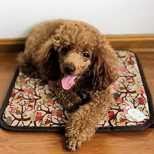 Zzaini Vintage Elektrisch Heizung Pet Pad Wasserdichte Erwärmung Easy Care Matten Automatische konstante temperatur Hunde Bett Kuscheldecke Für den Winter-A 45x45cm(18x18inch) - Pad Pet-erwärmung