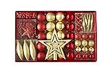 Heitmann Deco Weihnachtsbaum-Schmuck - gold / rot - 60-teilig - Set inkl. Baumspitze, Kugeln, Perlkette, Girlande und Sterne - Kunststoff