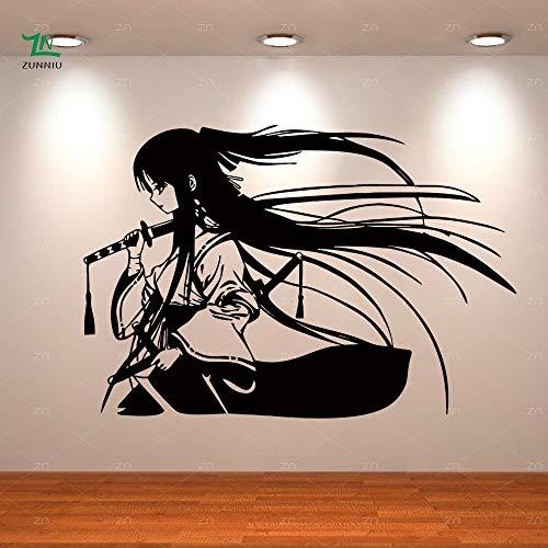 Samurai Geisha Katana Japonesa Espadas Anime Vinilo Decorativo Etiqueta de La Pared Home Living Room Niños Niños Niñas Dormitorio Decoración Mural
