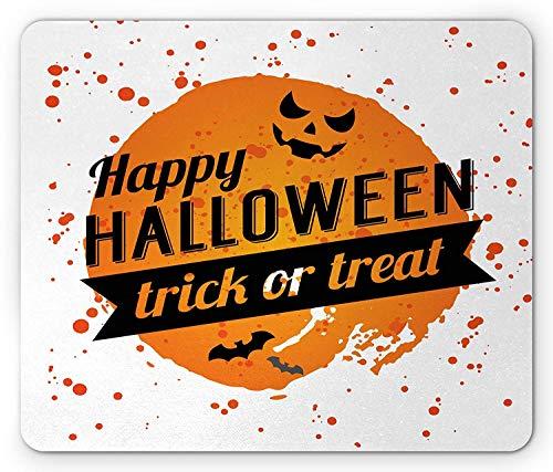 Halloween Mouse Pad, Happy Halloween Trick or Treat Watercolor Stains Drops Pumpkin Face Bats, Standard Size Rectangle Non-Slip Rubber Mousepad, Orange Black White