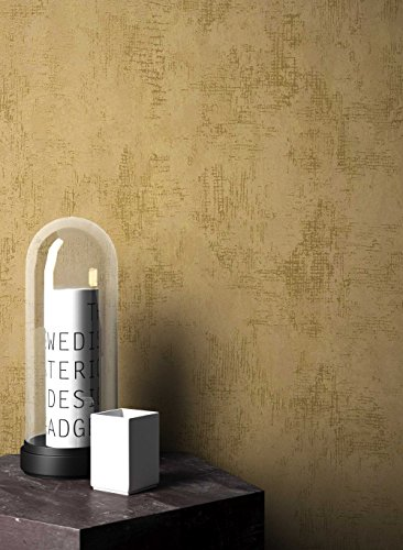 NEWROOM Tapete grafisch Gold Putz Beton Uni Vliestapete Beige Vlies Struktur Bauhaus inkl. Tapezier...