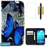 Galaxy S4 Hülle CASELAND Hochwertigem PU Leder Flip Brieftasche Tasche mit Steckplatz für Kreditkarten Magnetische Frontklappe Portemonnaie Blatt Schutzhülle für Galaxy S4 i9500 Blauer Schmetterling