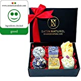 """Organic Bath Bombs """"Divine Moments"""" 6-Piece Set / High-Quality Bath Pralines In Elegant Gift Box With Real Satin Bow / Extraordinary Present Idea For Women / Vegan With Shea Butter"""