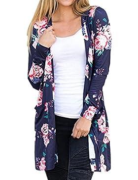 Herbst Neue Blumenmuster Strickjacken Damen Langarm Cardigan Jersey Mantel Im langen Abschnitt Jacke Kimono Outwear...