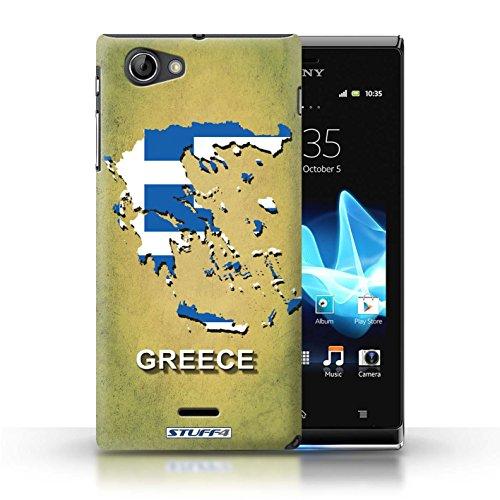 Kobalt® Imprimé Etui / Coque pour Sony Xperia J (ST26i) / Brésil conception / Série Drapeau Pays Grèce/Grecque
