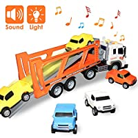 Buyger Toy Cars for 3 Year Old Boys Transport Car Carrier Loader Truck Toy Racing Track - Light and Sound - 4 Mini Vehicles