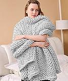 Yiyida XXL Kuscheldecke Strick 120x180cm, handgefertigt Dicke Decke Wolle Warm Flauschig Weich für Sofa, Bett