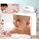 Dankeskarte Geburt selbst gestalten, Schmetterlinge 5 Karten, C6 Doppelklappkarte 148x105 inkl. weiße Umschläge, Rot