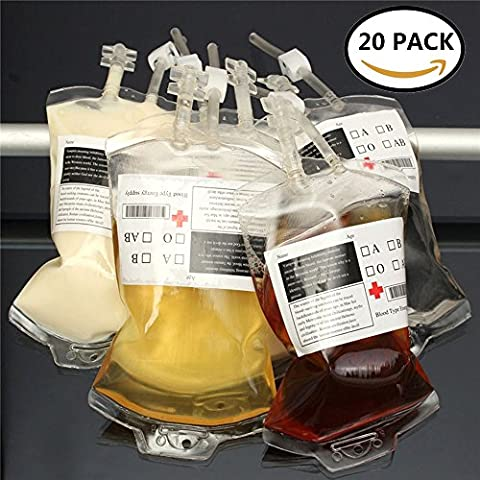 Halloween Blood Bag Energy Drink Container 500ML Halloween Prop Vampire Cosplay Clear Food Grade PVC Reusable Pouch