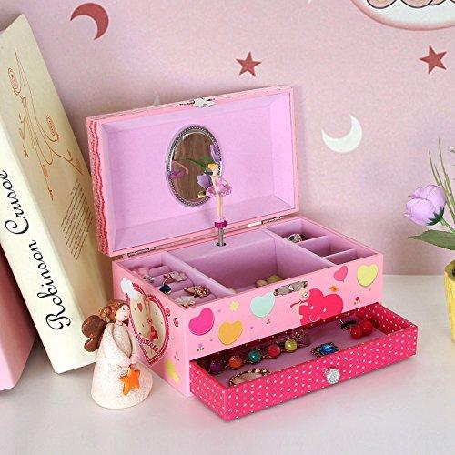 Songmics Schmuckkästchen Musikspieldose Spieldosen Musikdosen Spieluhren - Spieluhr für Kinder mit Spiegel JMC002 - 2