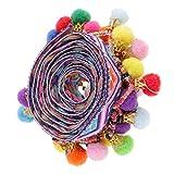 Homyl 1 Yard Bunte Trimm Ball Perlen Fransen Quasten Braid Ribbon Trim Zierborrte Bommelborte Bommelband - Farbe 5, 33mm