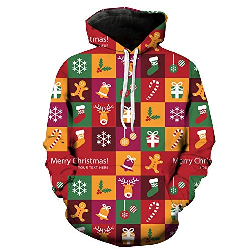 Bauycy Pullover Paar Modelle Pullover MäNner Frauen Fallen Winter LäSsig Weihnachten 3D Plaid Print Kapuzenpullover Pullover Hoodie Warmen Pullover Weihnachten Party Casual Sweatshirt