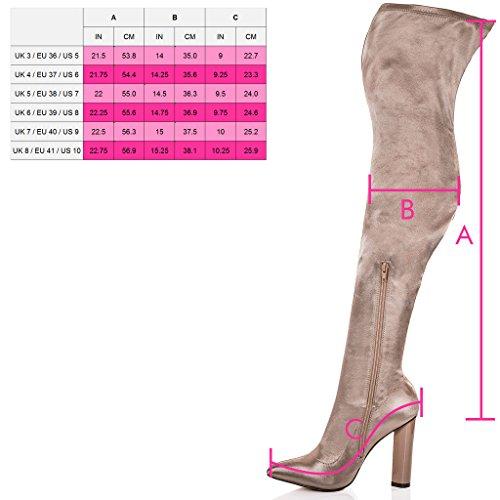 SPYLOVEBUY VAGAS Damen Blockabsatz Overknee Stiefel Beige - Synthetik Satin Lycra