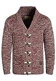 !Solid Prewitt Herren Strickjacke Cardigan mit Schalkragen aus 100% Baumwolle Meliert, Größe:XL, Farbe:Wine Red Melange (8985)