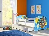 Clamaro 'Fantasia Weiß' 140 x 70 Kinderbett Set inkl. Matratze, Lattenrost und mit Bettkasten Schublade, mit verstellbarem Rausfallschutz und Kantenschutzleisten, Design: 21 Piraten