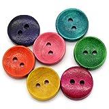 100 botones redondos de madera de colores mezclados con 2 agujeros para costura, manualidades, geshiglobal