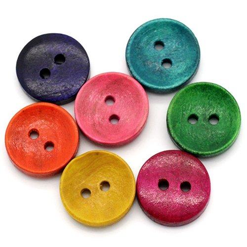 100 botones redondos madera colores mezclados 2 agujeros