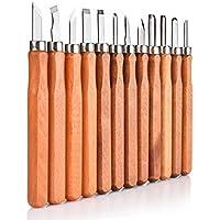 Juego de cinceles, OIZEN 12 Piezas Escultura de cinceles, cuchillo de trinchar hecho a mano para DIY mango de madera de herramientas Wax Carving Cinceles para Madera