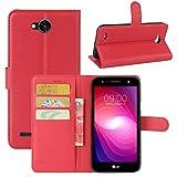 HualuBro LG X Power 2 HandyHülle, Leder Brieftasche Etui Lederhülle Tasche Schutzhülle Hülle [Standfunktion] Handytasche Flip Case Cover für LG XPower 2, LG X Power II (Rot)