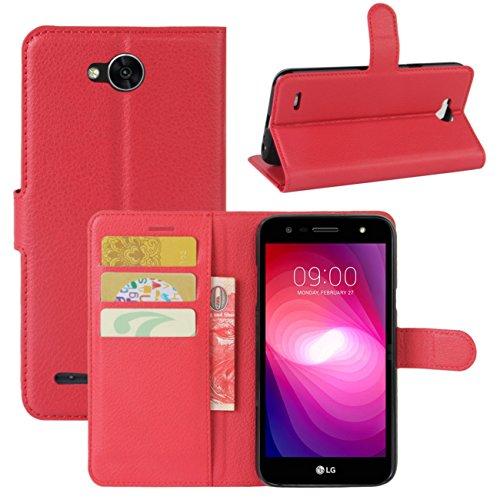 HualuBro LG X Power 2 HandyHülle, Leder Brieftasche Etui Lederhülle Tasche Schutzhülle Hülle [Standfunktion] Handytasche Flip Case Cover für LG XPower 2, LG X Power II (Rot) (Hinweis 2 Wallet Case Rot)
