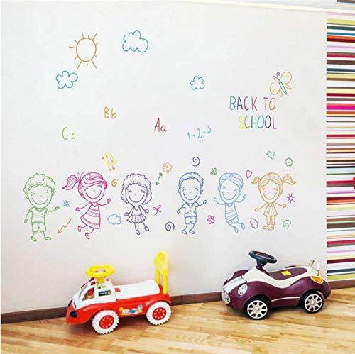 rtoon Junge Mädchen Zurück Zu Schule Wandtattoos Schlafzimmer Kinderzimmer Kindergarten Wohnkultur Wandaufkleber PVC Mural DIY Poster 58X90 cm ()