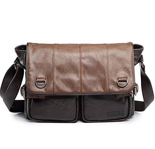 Vintage Herren Beutel Messenger Faux Leder Aktentasche Handtasche Schulter Bag