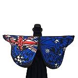 Schmetterlings Flügel Schals, VEMOW Frauen 145 * 65CM Weiches Gewebe Fee Damen Nymph Pixie Halloween Cosplay Weihnachten Cosplay Kostüm Zusatz(X1-Blau, 145 * 65CM)