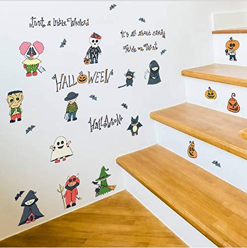 Halloween Cartoon Kleine Person Decor Wandaufkleber Scary Kürbis Hexe Wizard Ghost Bat Kinderzimmer Küche Kleiderschrank Kühlschrank Aufkleber ()