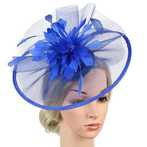 Kostüm Gangnam Kinder Stil - QIMANZI Frauen Mädchen Fascinators Hair Clip Haarnadel Hüte Hochzeitskirche Kopfbedeckung Feder Cocktail Hochzeit Tea Party Hat(Blau)