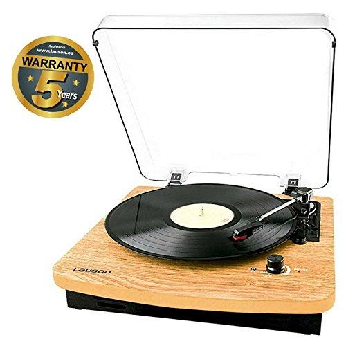 Lauson Plattenspieler mit Bluetooth | USB Digitalisier Vinyl-To-MP3 | Schallplattenspieler mit eingebauten Stereo Lautsprechern | Spielt in allen Geschwindigkeiten 33, 45 und 78 RPM | usb | CL608 | - Vinyl Holz Plattenspieler