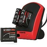 Wicked Chili Ladegerät mit 3 Akkus für GoPro Hero 4 Duo Ladestation 5in1 mit (Pro Series Akku 1160mAh Typ AHDBT-401) + microUSB auf USB-A Ladekabel