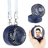 MOGOI Mini Ventilator Halskette Lüfter,Handventilator mit wiederaufladbarer USB-Batterie, 180 ° -Drehverstellung, 3 Geschwindigkeiten, Male Up Mirror für Reisen, Angeln, Camping, Outdoor