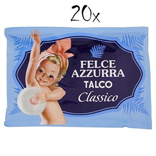 20 x Paglieri Felce Azzurra TALCO Classico Poudre pour le corps TALC Poudre 100 g Recharger et Robusta dans des sacs avec un arôme de Valve Saver, 1000 g grains.