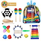 MVPower Musikinstrumente Rhythm Toys Percussion Set 16 Stück Früherziehung Musik Kinderspielzeug Kleinkinder Holz Instrumentenset für Kinder mit Tragetasche (Rhythm Toys Set)