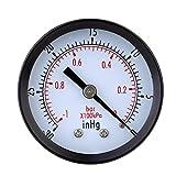D DOLITY 0 ~ -30inHg 0-1bar Hydraulischer Luftdruck Manometer, Druckluft Vakuum Messer