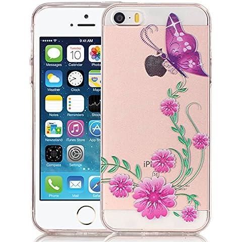 SMARTLEGEND Gel di Silicone Cover per iPhone 5 5S SE, Disegni Sollievo Toccare TPU Morbido Custodia, Ultra Sottile Transparente Flessibile Durevole Case Copertina - Rora Fiori e Farfalla