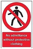 """vsafety 52021au-s """"No admittance senza cartello divieto accesso"""" indumenti protettivi, Autoadesivo, ritratto, 200mm x 300mm, colore: nero/rosso"""