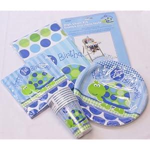 Geburtstagsgeschirr für Jungen, zum 1. Geburtstag, umfasst Becher, Teller, Servietten, Tischdecke, Dekorationsset für Hochstuhl, Motiv Schildkröte, Packung für 16 Personen