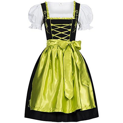 Dirndl Set Schwarz mit Schürze Grün Leuchtend Gr. 36
