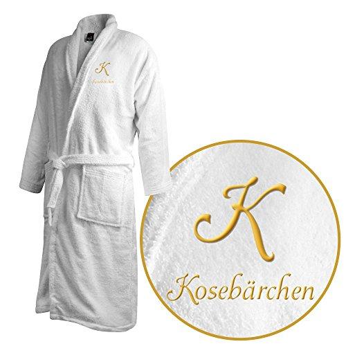 Bademantel mit Namen Kosebärchen bestickt - Initialien und Name als Monogramm-Stick - Größe wählen White
