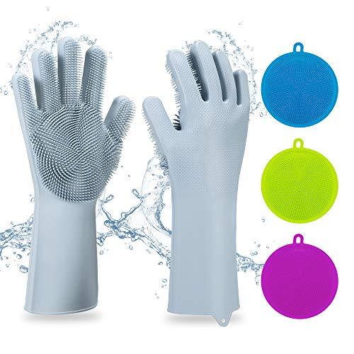 5packs Silicone riutilizzabile Magic Saksak con lavasciuga, resistente al calore Utensili da cucina per la pulizia, lavaggio della lavastoviglie, lavaggio dell\'auto, cura dei capelli per animali(blu)