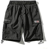 Pantalones cortos Casual Verano cómodos y Holgados Ocasionales Deportivos Transpirables Negro/Gris Oscuro Comodo (Color : Black, Size : M)