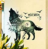Hwhz Wolf Culture Wall Stickers PVC Material DIY Animal Wall Art for Kids Rooms Kindergarten Glass Decoration