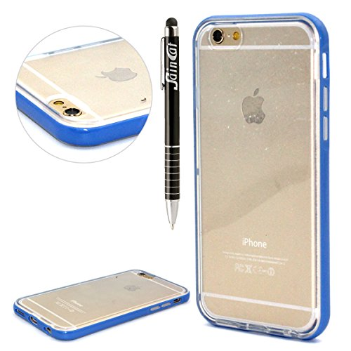 SainCat Coque Housse iPhone 6 Plus, Coque Silicone Etui Housse, iPhone 6s Plus Silicone Case Soft Gel Cover Anti-Scratch Transparent Case TPU Cover,Fonction Support Protection Complète Magnétique Shel transparent,bleu