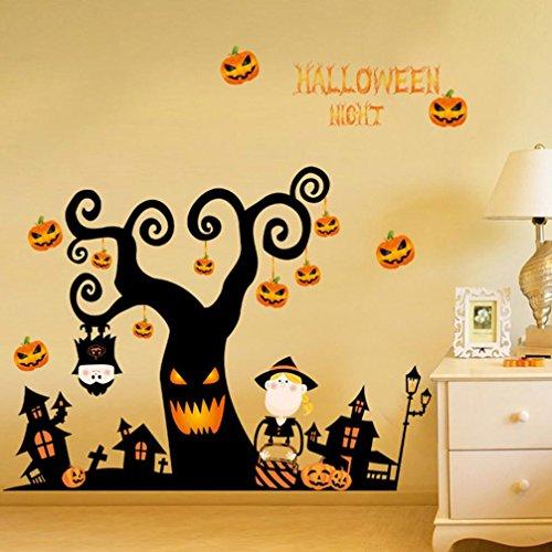 VENMO Happy Halloween Home Haushalt Zimmer Wandaufkleber Mural Decor Decal Removable Neu (Black) (Schal Square Sheer)