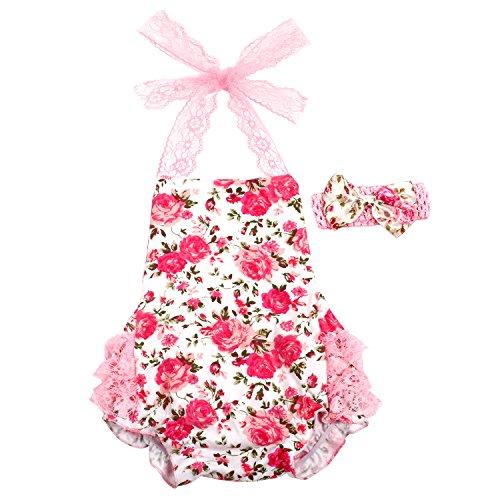 Hongfei Baby Overall Sommerspielanzug Klettern Kleidung Blumenkleid mit Bowknot-Stirnband
