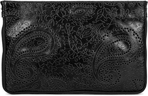styleBREAKER clutch in pelle con con stampo Paisley e chiusura a cerniera, maniglietta, borsa da scuola, borsa da sera, borsa, donna 02012183, colore:Blu notte Nero